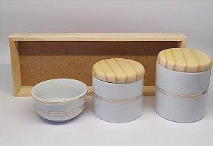 Kit Higiene Porcelana Listra Dourada/Madeira - Porcelana Regis
