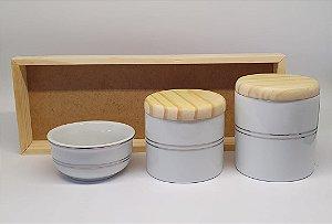 Kit Higiene Porcelana Listra Prata/Madeira - Porcelana Regis