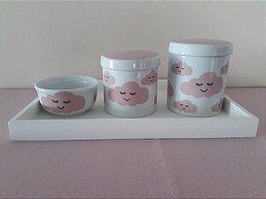 Kit Higiene Porcelana Nuvem Rosa - Porcelana Regis