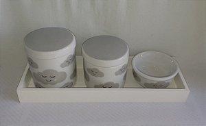 Kit Higiene Porcelana Nuvem Cinza - Porcelana Regis