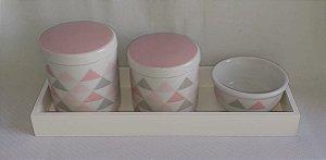 Kit Higiene Porcelana Triangulo Rosa - Porcelana Regis