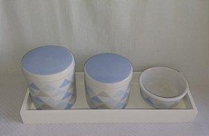 Kit Higiene Porcelana Triangulo Azul - Porcelana Regis