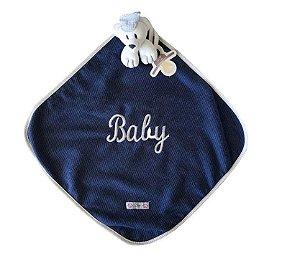 Blanket Cetim Jeans Urso Azul - Zip Toys