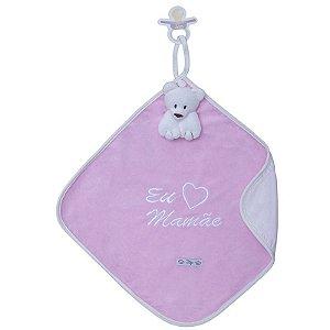 Blanket Cetim Eu Amo Mamãe Rosa - Zip Toys