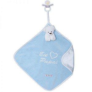 Blanket Cetim Eu Amo Papai Azul - Zip Toys