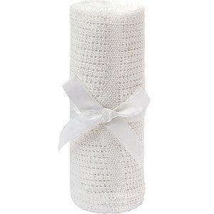 Mantinha Tricô Baby Branco - Buba