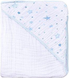 Toalha com Capuz Celeste Azul - Papi Baby