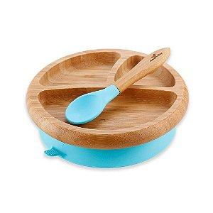 Prato Bambu com Ventosa e Colher de Silicone Azul - Avanchy