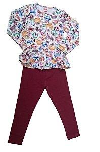 Conjunto Infantil Blusa E Legging Macaron Alenice