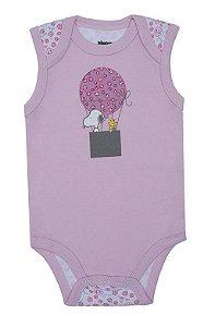 Body Bebê Regata Pimpolho Snoopy Balão Rosé