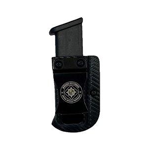 PORTA CARREGADOR KYDEX GLOCK G17, G19, G22, G23 E G25 - VELADO DESTRO (CARBONO)