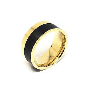 Anel Aço Inox Dourado com detalhe em Preto