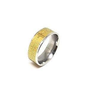 Anel Aço Polido Antialérgico com IP Gold (Dourado) Central,