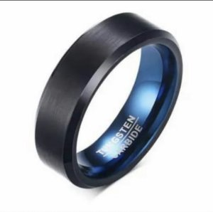 Anel Tungstênio Black Fundo Azul