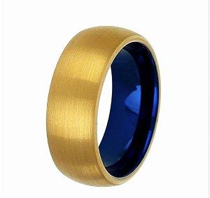 Anel Tungstênio Dourado com Fundo Azul