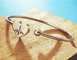 Bracelete de Batimento Cardíaco em Aço Inox Rose