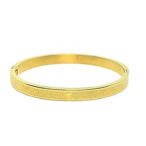 Bracelete Aço Pai Nosso Dourado