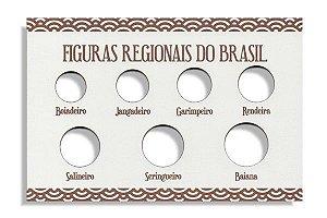 Placa de Madeira para série de moedas Figuras Regionais do Brasil
