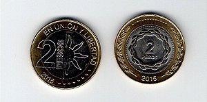 2 Moedas da Argentina de 2 Pesos