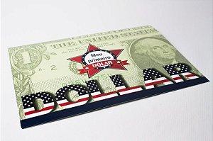 Folder com cédula de 1 Dólar Americano