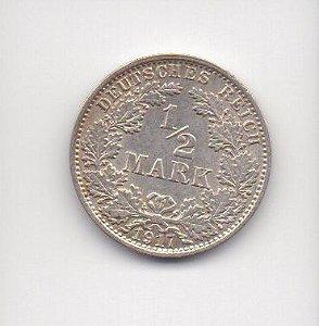 Moeda de 1/2 Marco - Alemanha 1917