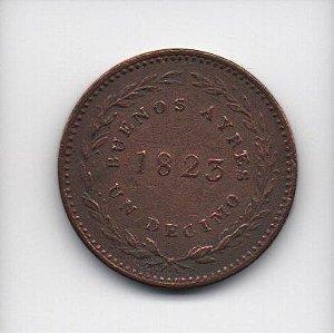 Moeda de 1 decimo de real -  1823 - Buenos Aires (Argentina)