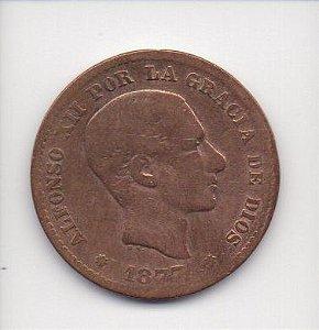 Moeda de 5 centimos de 1877 - Espanha