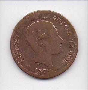 Moeda de 5 centimos de 1878 - Espanha