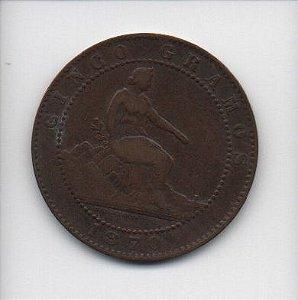 Moeda de 5 centimos de 1870 - Espanha