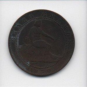 Moeda de 5 centimos 1870 - Espanha(2)
