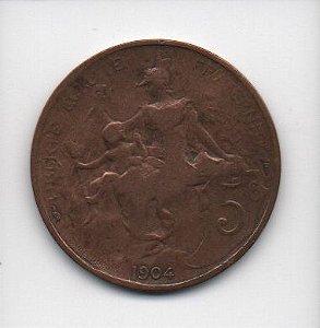 Moeda de 5 centimes 1904 - França