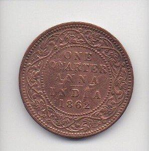 Moeda de 1 quarter anna de 1862 - India