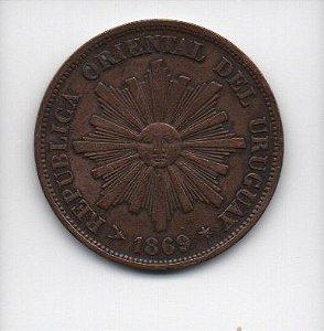 Moeda de 1 Centesimo de 1869 - Uruguai