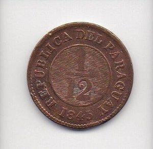 Moeda de 1/12 real 1845 - Paraguai
