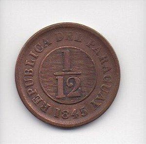 Moeda de 1/12 de Real de 1845 - Paraguai(3)