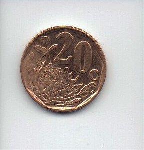 moeda de 20 cents de 2008 da Africa do Sul