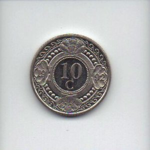 Moeda de 10 cents de 1992 das Antilhas Holandesas