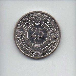 Moeda de 25 cents de 1994 das Antilhas Holandesas