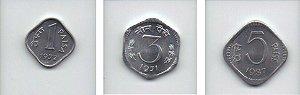 Set de moedas de 1-3-5 paisa da Índia