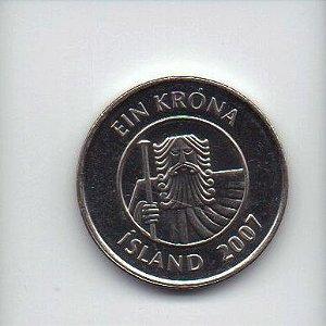 Moeda de 1 Coroa de 2007 da Islândia
