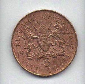 Moeda de 5 cents de 1975 do Quênia