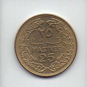 Moeda de 25 piastras 1972 Líbano
