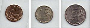 Set variado de moedas de 0,50, 1 e 5  rublos Russia