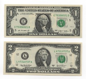 Cédula de 1 e 2 dólares dos Estados Unidos