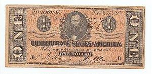 Cédula FAC SIMILE(CÓPIA) de 1 dólar dos Estados Confederados da América 1864 - Estados Unidos