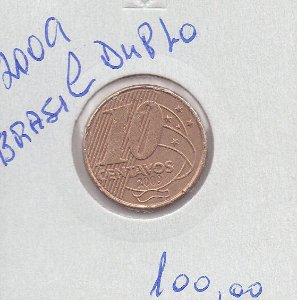 Moeda de 10 Centavos de 2009 Brasil Duplo reverso MBC