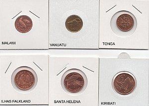 Lote com 6 moedas de países difíceis