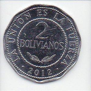 Moeda de 2 Bolivianos - Bolívia 2012