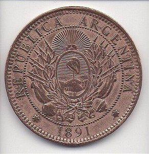 Moeda de 2 centavos de 1891 Argentina