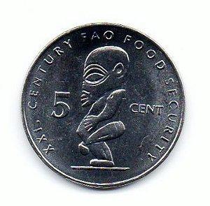 Moeda de 5 Cents das Ilhas Cook FAO 2000